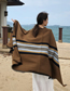Fashion Brown Stripes Striped Scarf Shawl