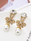 Fashion White Pearl Stud Earrings With Diamond Bow