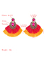 Fashion Rose Red Alloy Inlaid Glass Diamond Double Fan-shaped Tassel Earrings