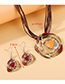 Fashion Purple Painting Oil Flower Alloy Hollow Necklace Earring Set