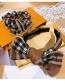Fashion Middle Knot Headband Cashmere Plaid Full Diamond Bow Bow Large Intestine Circle Hair Rope Headband