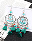 Fashion Sapphire Blue Beads Decorated Short Tassel Earrings
