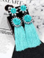 Trendy Blue+pink Flowers Decorated Long Tassel Earrings