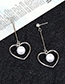 Fashion Silver Color Pearls Decorated Heart Shape Earrings