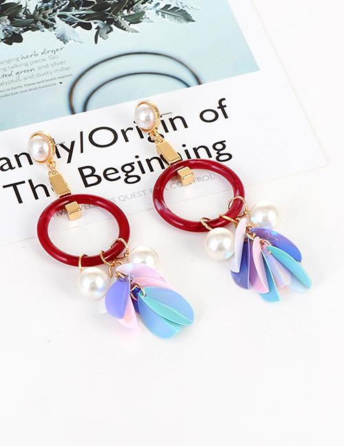 Elegant Claret Red Pearls&circular Ring Decorated Earrings