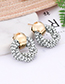 Fashion Light Gray Round Shape Decorated Earrings