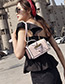Fashion Pink Square Shape Decorated Shoulder Bag