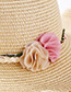 Fashion Beige Flowers Decorated Sunscreen Beach Hat