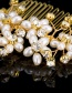 Elegant Gold Color Diamond&pearls Decorated Simple Hair Comb