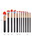 Fashion Black Round Shape Decorated Makeup Brush(12pcs)