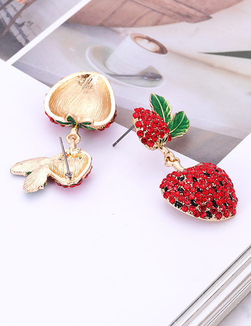 Fashion Red Strawberry Shape Decorated Earrings
