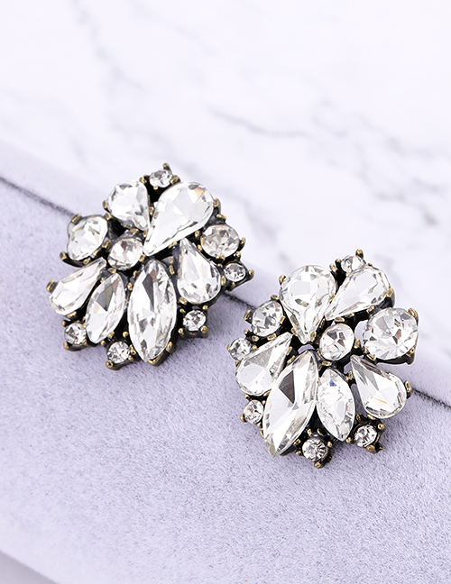 Fashion Champagne Waterdrop Shape Decorated Earrings