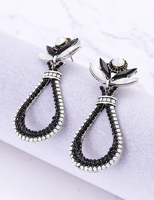 Fashion Navy Waterdrop Shape Decorated Earrings