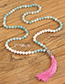 Trendy Pink Tassel Decorated Long Beads Necklace