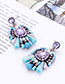 Fashion Blue Bead Decorated Earrings