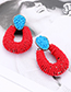 Fashion Pink+blue Waterdrop Shape Decorated Earrings