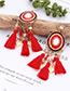 Fashion White Leaf Shape Decorated Tassel Earrings