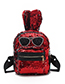 Fashion Black Rabbit Shape Decorated Backpack