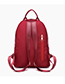 Fashion Claret Red Pure Color Decorated Backpack