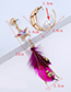 Fashion Multi-color Star Shape Decorated Feather Earrings