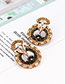 Elegant Champagne Full Diamond Design Hollow Out Earrings
