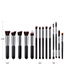 Fashion Black Flat Shape Decorated Make Up Brush(14pcs)
