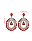 Fashion Red Alloy Studded Oval Stud Earrings