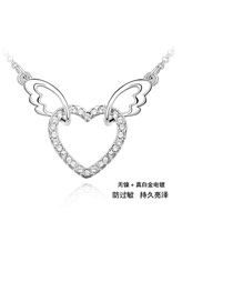 Bulk White Angel Heart Crystal Crystal Necklaces