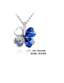 Aamazing Blue Sweet Four-Leaf Crystal Crystal Necklaces