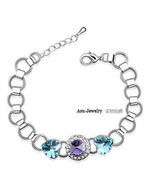 Attractive pale pinkish purple purple + navy blue Purple Bracelet Alloy Crystal Bracelets