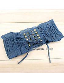 Charming Dark Blue Wild Lace Belt Girdle Cloth Wide belts