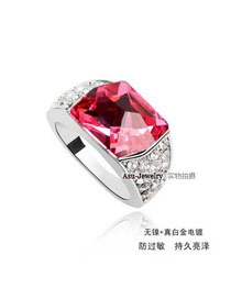 Waist Plum Red Crystal Elements Alloy Crystal Rings