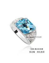 Standard Blue Austrian Crystals Alloy Crystal Rings