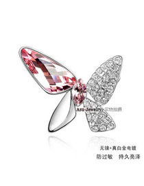 Padded Light Rose Red Brooch Alloy Crystal Brooches