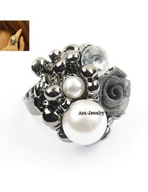 Padded Black Rose Flower Alloy Korean Rings