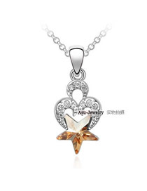 18K Gold Color Gold Star Charm Crystal Crystal Necklaces