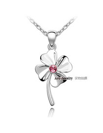 Softshell ROSE Red Happy Four Leaf Crystal Crystal Necklaces