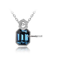Adjustable Blue Lovers Tower Crystal Crystal Necklaces