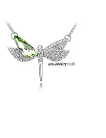 Mink Olive Green Flying Dragonfly Crystal Crystal Necklaces