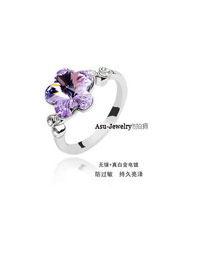 Kids Purple Crystal Elements Alloy Crystal Rings