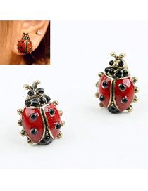 Guardian Red Coccinella Design Alloy Stud Earrings