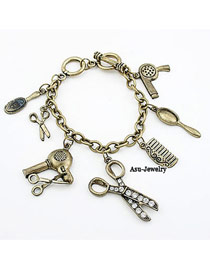 Sparking Bronze Scissors Pendant Alloy Korean Fashion Bracelet