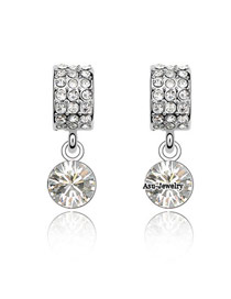 Peridot White Earrings Alloy Crystal Earrings