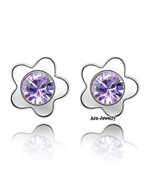 Hipster Violet Purple Earrings Alloy Crystal Earrings