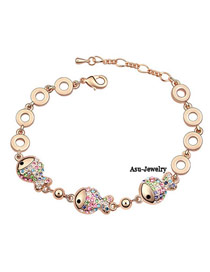 Liquid Rose Gold+colour Multicolour Bracelet Alloy Crystal Bracelets