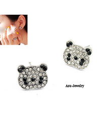 High Quali Black Panda Shape Alloy Stud Earrings
