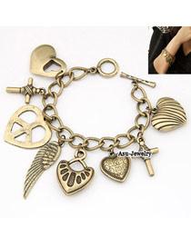 Beauteous Bronze Various Heart Alloy Korean Fashion Bracelet