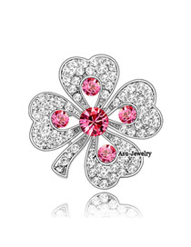 Current rose red Red Brooch Alloy Crystal Brooches