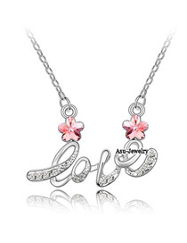 Varsity Light rose Red Implied Meaning Brilliant Plum Flower Crystal Crystal Necklaces