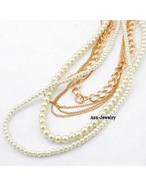 Drawstring White Multilayer Imitate Pearl Design